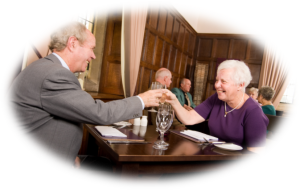 Oval Senior Couple Dining