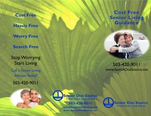 Senior One Source Tri-Fold Brochure Front